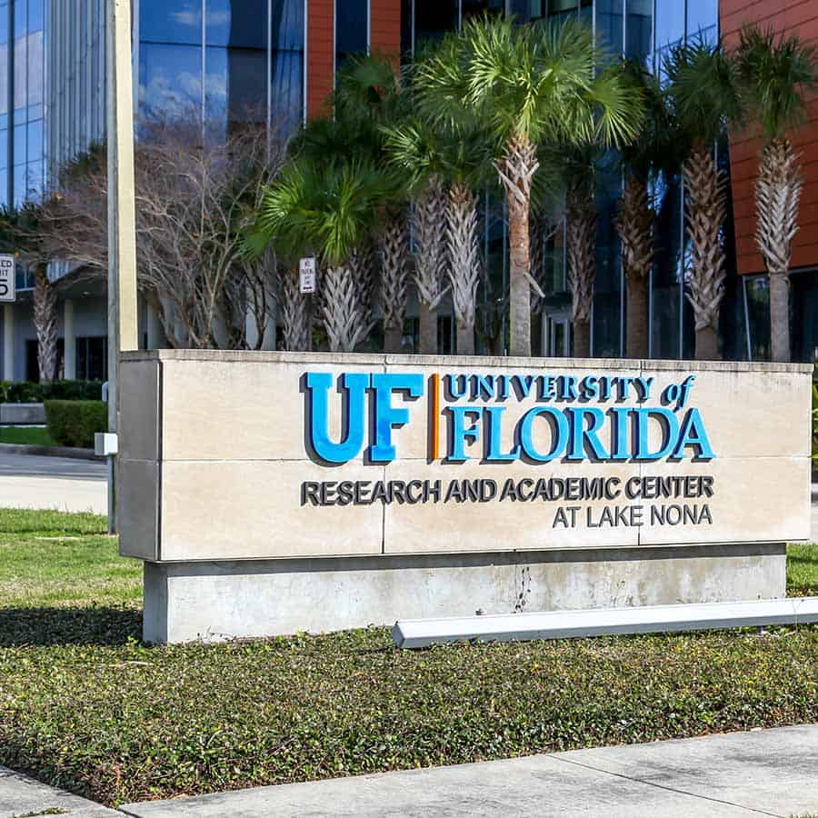 Orlando, Florida, USA- February 9, 2020: Sign of UCF Academic Center at Lake Nona Campus in Orlando, Florida, USA. The University of Central Florida (UCF) is a public research university.