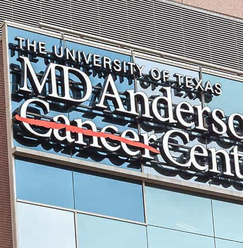 Sign of The University of Texas MD Anderson Cancer Center on the building in Houston
